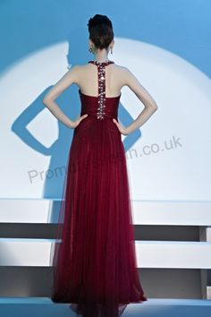 Red Halter Sweetheart Organza Formal Ball Gown 2013
