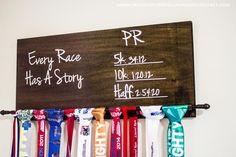 A simple solution for all your medals. This Race Medal Holder has a place for medals and PR times. A must have for every runner. Race Medal Holder, Medal Holders, Award Display, Workout Rooms, Medal Displays, Racing, Diy Crafts, Create, Simple