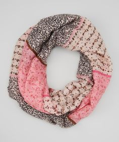 This Bubbly Bows Pink Leopard Infinity Scarf by Bubbly Bows is perfect! #zulilyfinds