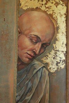 Detail of Angel. Acrylic on found door. Gouache, Street Art, Angel, Ink, Detail, Fine Art, Portrait, Painting, Headshot Photography
