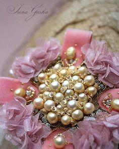 #brooch #details #handembroidered #pearls #silkflowers #pink #handmade #jewelry…