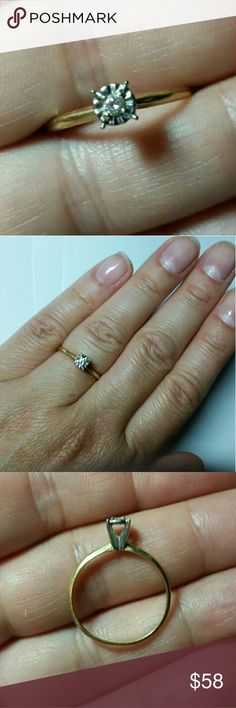 14k Diamond Engagement Promise Ring Solid 14k yellow gold with white gold gallery basket prongs holding a .025ct 1.8mm natural white diamond round brilliantdiamond set in an illusion setting. Size 6.5 1.2g Jewelry Rings
