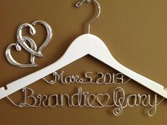 Wedding Personalized bridal hangerWhite two linesbrides hanger Bridal Hanger with date Bridal GiftWedding gift Shower gift August 12 2015 at 10:14PM
