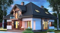 Opałek III N - zdjęcie 2 American Style House, Modern Bungalow House, Storey Homes, Dream House Exterior, House Elevation, Pent House, Dream Rooms, Home Fashion, Beautiful Homes