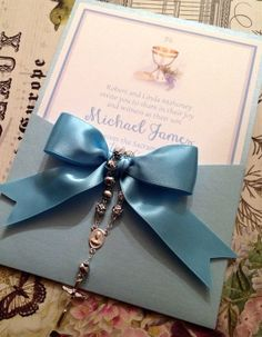 Printed First Communion Blue Chalice Invitation  by ourdesigner, $36.50