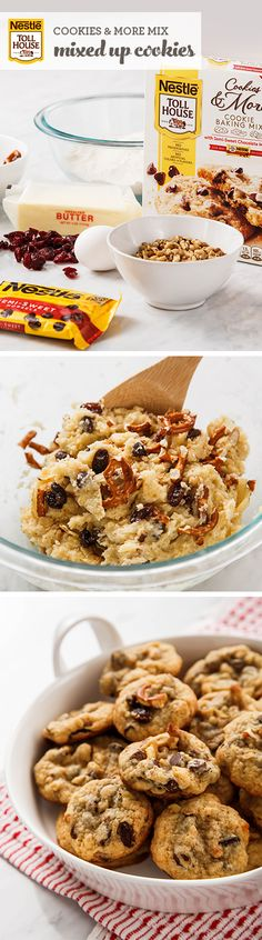 If you like to get creative with your dessert recipes, you'll love baking these Mixed Up Cookies. Start with new NESTLÉ® TOLL HOUSE® Cookie Mix and add your favorite ingredients (like raisins, pretzels, potato chips, peanut butter chips, chocolate chips or dried fruit). It's an easy way to make cookies with a personal touch.
