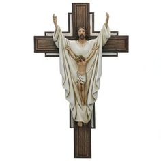 Risen Christ Wall Crucifix A unique crucifix features both the risen and crucified Christ. Part of the popular Joseph's Studio Colle. The Risen, Christ Is Risen, Jesus Christ, Jesus Is Lord, Jesus Photo, Jesus Art, Religious Cross, Wall Crosses, Home