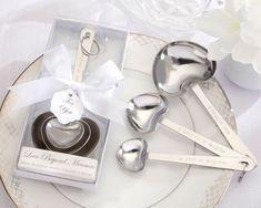 50 Silver Love Beyond Measure Heart Measuring Spoons Wedding Bridal Shower Favor