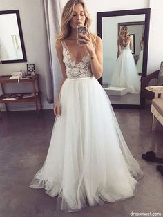a84689fd344 Fairy A Line V Neck Backless White Tulle Wedding Dresses with Appliques
