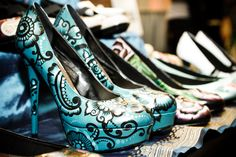 Hand-painted shoes by Hourglass Footwear.  Photo by Firstlight Photography. http://www.weddingandeventmagazine.com/vendors/details.php?resourceid=639