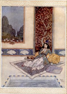 Scheherazade - Women of Myth and Legend; illustration by Edmund Dulac for a poem by Andrew Dumas, Christmas 1911 Illustration Nocturne, Night Illustration, Botanical Illustration, Art Vintage, Vintage Fairies, Inspiration Art, Art Inspo, Edmund Dulac, Fairytale Art
