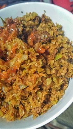 4 oz lean ground beef, chicken or turkey 2 C cabbage finely chopped into rice sized    (I used a food processor)   1 C chicken bro...