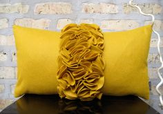 Golden Yellow Felt Ruffle Kidney Pillow Cover! where can i get it!
