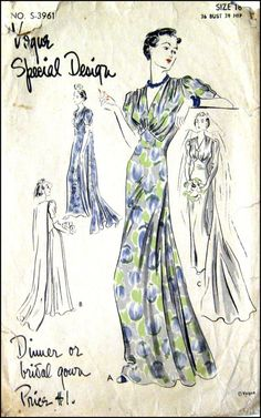 Vogue Special Design S-3961 | 1930s Dinner or Bridal Gown