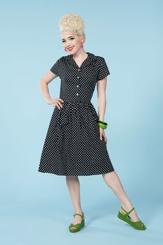 Golightly Maggy Collared Button Up Dress in Black Dots | Vintage Style Dress | Pinup Girl Clothing