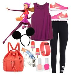 """Honey Lemon: Park Ready"" by elliespringfa ❤ liked on Polyvore featuring adidas Originals, Kate Spade, NIKE, Banana Republic, Disney, Neiman Marcus, Fitbit and tenoverten"
