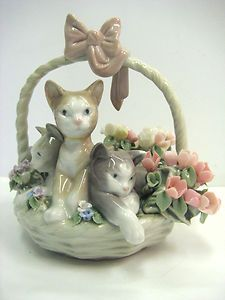 Purr fect Cats in Basket Retired by Lladro 1444 | eBay