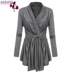 ACEVOG' Asymmetric Lace Up Belted Cardigan Top