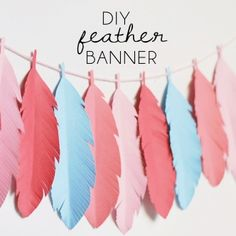 DIY Paper Feather Banner Indian Birthday Parties, Indian Party, Birthday Ideas, Mobiles, Feather Garland, Tribal Theme, Washi, Paper Feathers, Origami