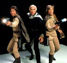 Battlestar Galactica (Original) with Richard Hatch, Lorne Green and Dirk Benedict.  That's right, Starbuck's a MAN.  New/Remake series SUCKS.