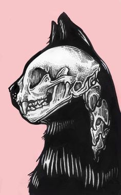 In-side | By Musber  [Blackcat - Drawing - Skull - Catskull - Ink - Raw - Moleskine]
