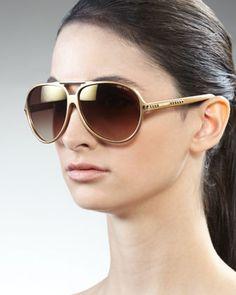 Luisa Aviator Sunglasses, Gold by Jimmy Choo at Bergdorf Goodman.