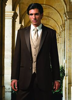 black tux with tan vest and tie - Google Search