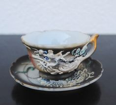 Vintage Dragonware Teacup, Tiny Tea Cup & Saucer Set, Black and White.