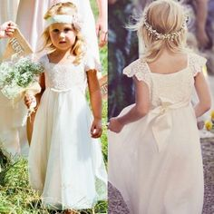 A-Line Square Cap Sleeves Long White Tulle Flower Girl Dress with Lace