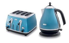 blue toaster and kettle