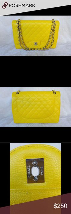 "‼️READ‼️ Yellow Caviar Leather Classic Flap ‼️READ‼️ Here is a back story all of "" NOT Authentic"" Bags. My friends got scam from online seller and paid authentic price for the bag. I am helping them to get at least some of their loss not trying to make any profit or selling fake as authentic item. So, with all of explanations I would like you to give a respectful comment. Thank yon very much for understanding 🙏🏾🙏🏾🙏🏾❤️❤️❤️ Louis Vuitton Bags Shoulder Bags"