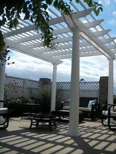 Ultra low maintenance vinyl pergola provides a great focal point for this patio! Vinyl Pergola, Outdoor Structures, Patio, Terrace