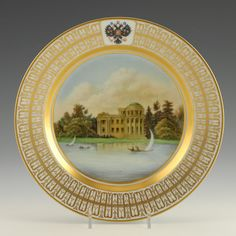 Russian Imperial Porcelain Factory Topographical Plate | John Atzbach Antiques