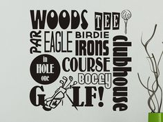 Golfing wall decal Golf wall sticker Subway Art Man Cave Wall Decor 22x22 on Etsy, $17.00