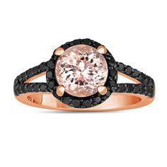 Pink Morganite And Black Diamonds Engagement Ring 2.04 Carat Halo 14K Rose Gold Handmade by JewelryByGaro on Etsy https://www.etsy.com/listing/226764524/pink-morganite-and-black-diamonds