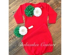 Newborn Girl Christmas Outfit Baby's 1st Xmas by BabicakesCouture