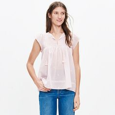 As the daughter of archaeologists, Manhattan-born Ulla Johnson went on some incredible family vacations. Her globe-trotting childhood comes through in her thoughtful, subtly embellished designs that (surprise) also happen to be pretty great to travel in. Fluttery sleeves, delicate embroidery and a tassel-tie neckline make this elegant top effortlessly romantic and ready for a night out.  <ul><li>True to size.</li><li>Cotton voile.</li><li>Dry clean.</li><li>Import.</li><li>Madewell.com…