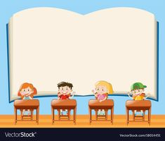 Paper template with kids in classroom vector image on VectorStock