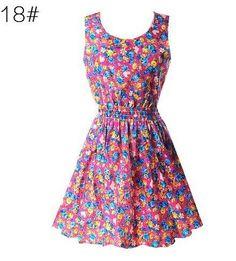 Summer Hot Sexy Women Tank Chiffon Beach Party Dress Sleeveless Slim Bodycon Sundress Floral Mini Dresses