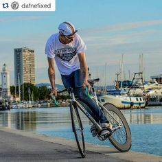 """#Repost from @dafnefixed - """"Wolf of #rimini. For @leaderbikes_official  Notorious 90 Miche Pistard  straps Dafne  CAP Dafne @wolfbotts t-Shirt  SHOP ONLINE www.DAFNEFIXED.com #fixedgear #rimini #seiuncopione #cycling #cyclist #bike #bicycle #trackbike #fixedgear #skid #livingontheedge #hizokucycles  HizokuCycles.com by hizokucycles"""