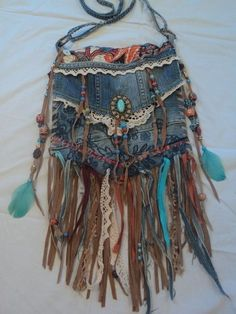 Handmade Denim Cross-body Bag Boho Hippie Purse Beaded Leather Fringe Lace