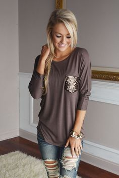 awesome Glam Pocket Top - Mocha - The Pulse Boutique