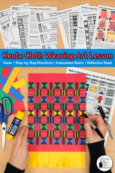Inspire your students to design a colorful Ghana kente cloth weaving for Black History Month. African Art For Kids, African Art Projects, Art Games For Kids, Art Lessons For Kids, Paper Weaving, Weaving Art, Art Sub Plans, Art History Lessons, Kente Cloth