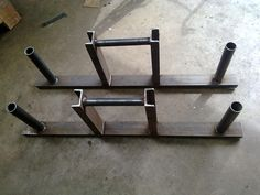"""Strengthshop Farmers walk implements  Length approx 32"""" and height of handles around 18"""". Handles approx 30mm diameter."""