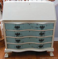 """Whew! That's a mouthful.. but it is what it is… which this beauty is from the early 1920's, has beautiful bow front drawers, cool """"secret"""" compartments and some fine claw feet! Yes, it needs some l…"""