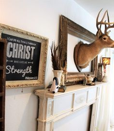The Queen of Pretty Things – just plain jilly blog post deer head, deer head decor, signs, all things through Christ, vintage mantle, mantle surround, cottage, cottage style