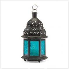 Lanterne en verre bleu à la marocaine D1059
