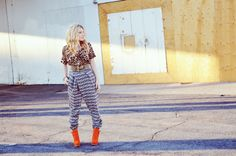 Mr. Kate | OOTD: mixed prints and orange shoes