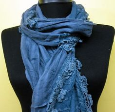 Blue Women Shawl Scarf  Headband Necklace Cowl by fatwoman on Etsy, $19.00