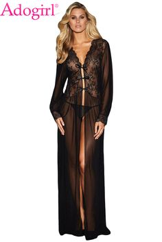 7b641f9898 Adogirl Sheer Long Sleeve Lace Robe with Thong Women Sexy Valentine Lingerie  Set Long Nightgown Cheap